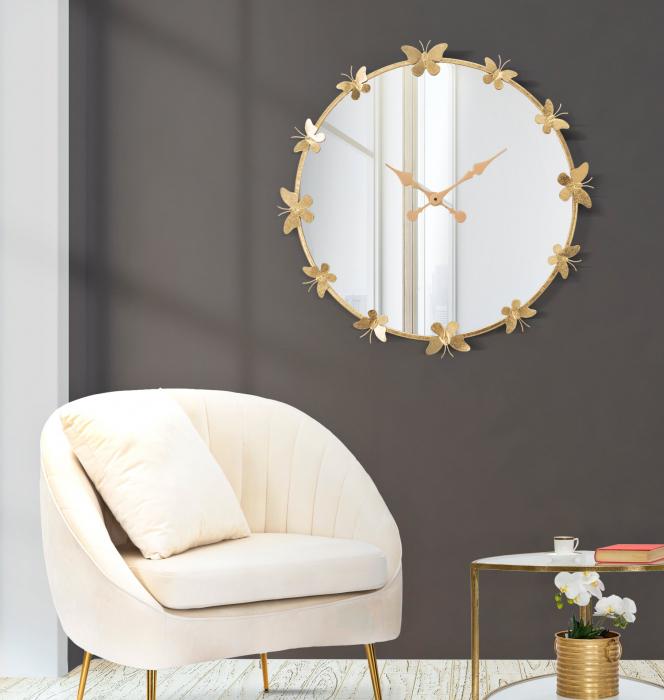 Ceas de perete cu oglinda GLAM BUTTERFLY CM Ø 75X4,5 (oglinda CM Ø 64), Mauro Ferretti [0]