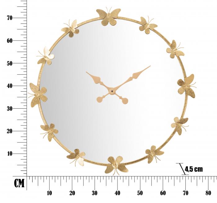 Ceas de perete cu oglinda GLAM BUTTERFLY CM Ø 75X4,5 (oglinda CM Ø 64), Mauro Ferretti [5]