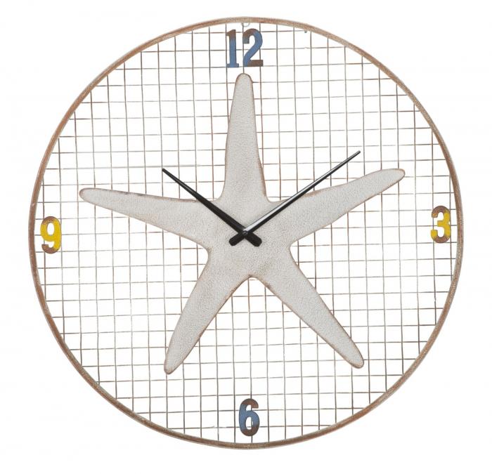 Ceas de perete Starfish, fier, alb, O 57X3.5 cm 2021 lotusland.ro