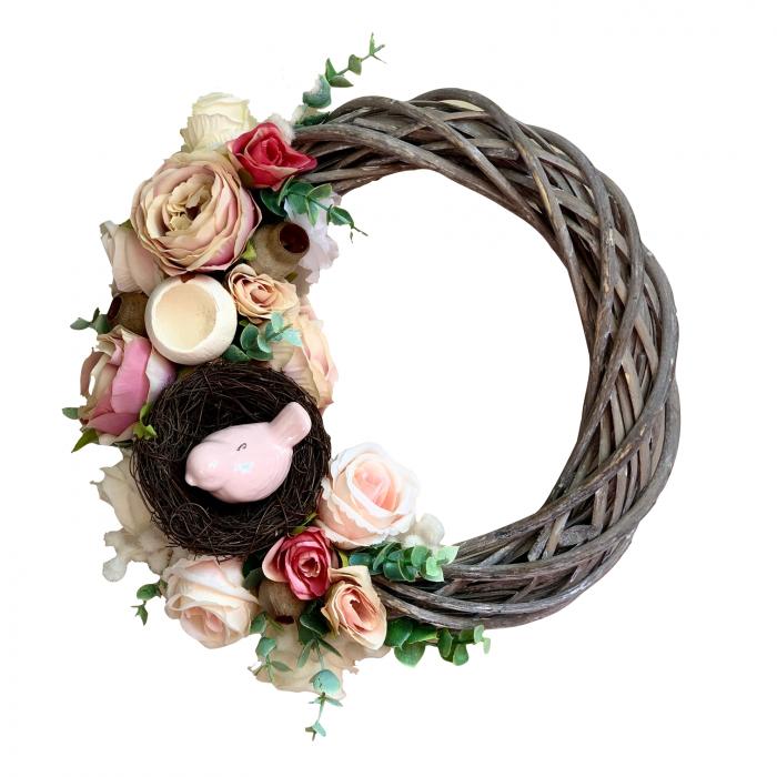 Coronita decorativa cu flori artificiale, 29 cm, handmade 2021 lotusland.ro