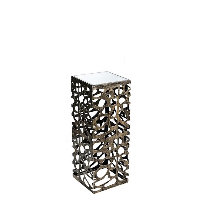 Consola Ellis, metal sticla, auriu antichizat, 27x27x70 cm lotusland.ro