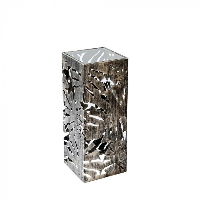 Consola Flora metal sticla, auriu antichizat, 27x27x70 cm 2021 lotusland.ro