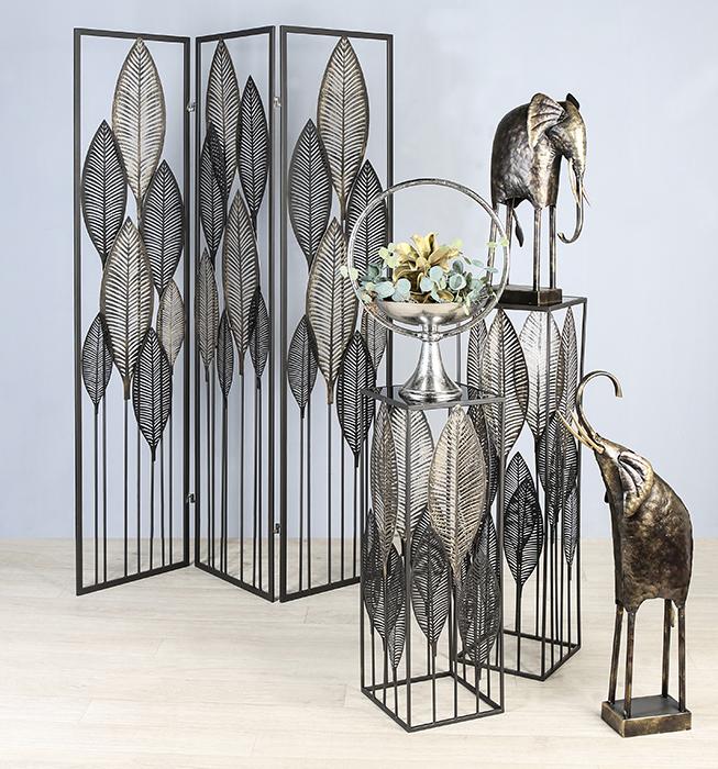 Consola PALM LEAVES, metal/sticla, 100x27x27 cm [1]
