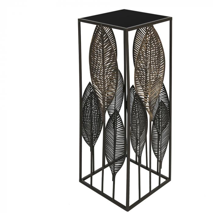 Consola PALM LEAVES, metal sticla, 80x27x27 cm imagine 2021 lotusland.ro
