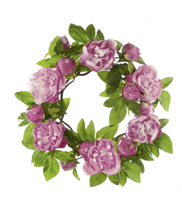 Coronita decorativa trandafiri Roses, artificial, roz/verde, 46 cm 0