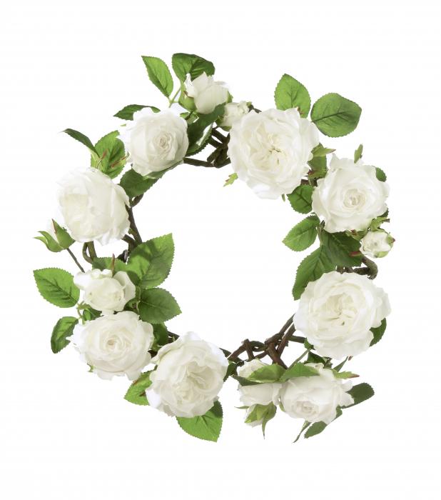 Coronita decorativa trandafiri Roses, artificial, verde/alb, 35 cm 0