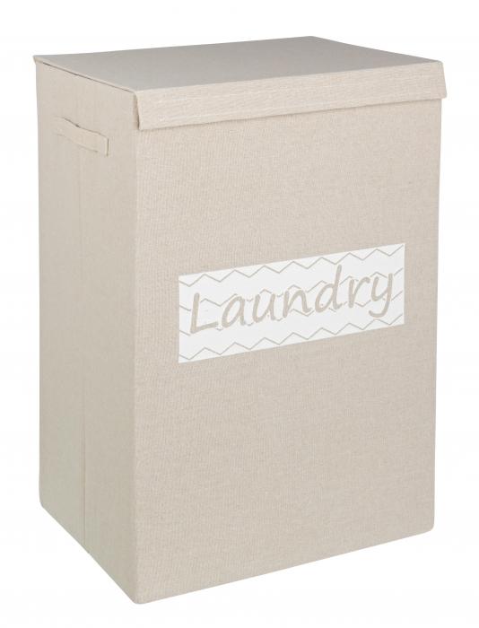 Cos de gunoi Basic, Carton Poliester, Gri, 40x30x60 cm image0
