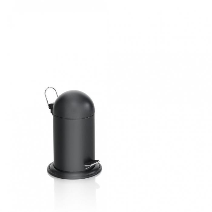 Cos de gunoi cu capac si pedala KENTA, Metal, Negru, 22.5x22.5x33.5 cm lotusland.ro