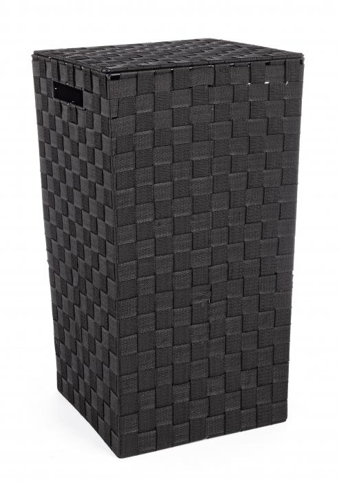 Cos pentru rufe, Otel Nylon, Negru, 33x33x53 cm image0