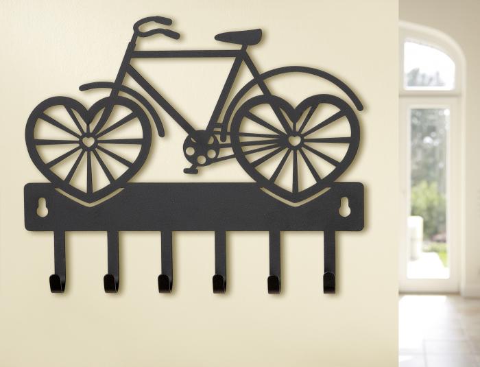 Cuier suspendat Bike heart, fier, negru, 24x2,5x19,5 cm 2021 lotusland.ro