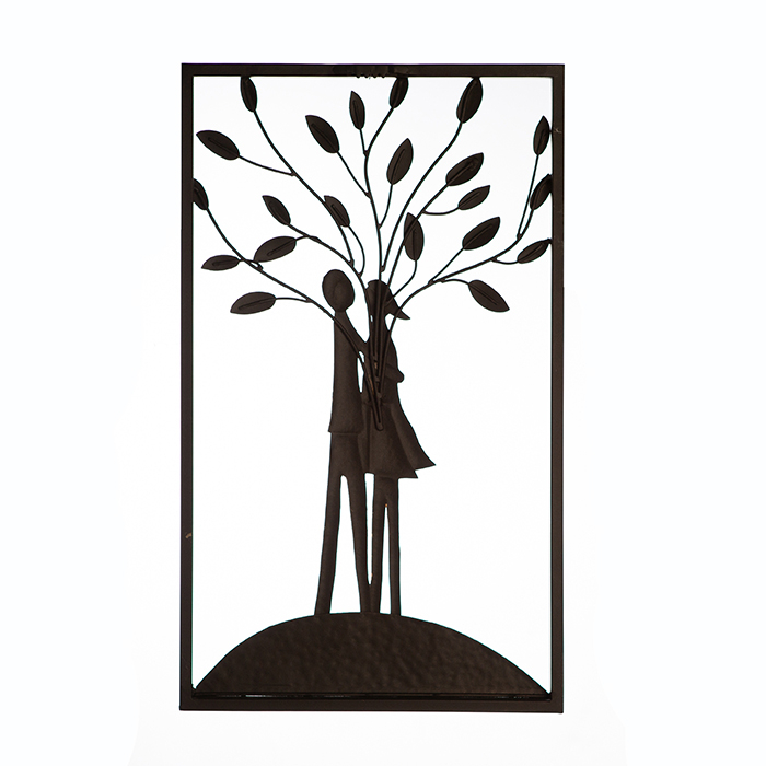 Decoratiune de perete TREE COUPLE, metal, 50x30 cm 4