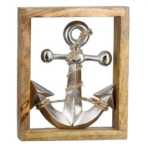 Decoratiune anchor, aluminiu lemn, argintiu maro, 5x19x23.5 cm lotusland.ro