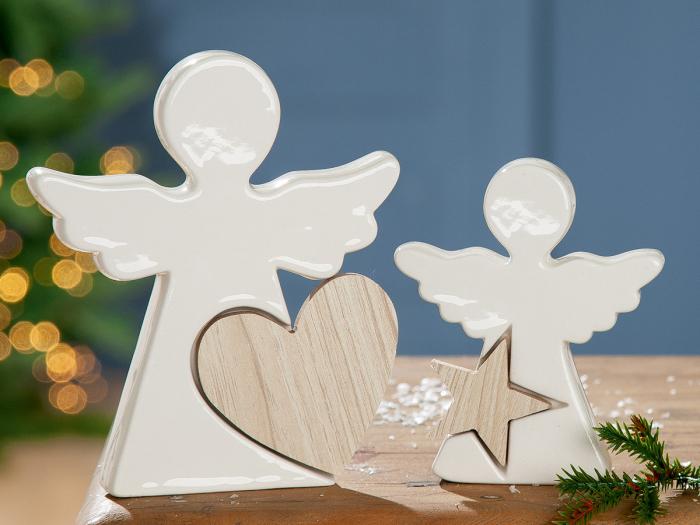 Decoratiune ANGEL cu inimioara, portelan, 13.5x2.5x15 cm imagine 2021 lotusland.ro