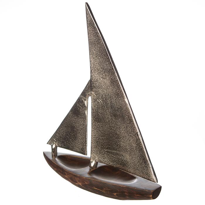 Decoratiune BOAT, lemn/aluminiu, 27x21x7.5 cm 4