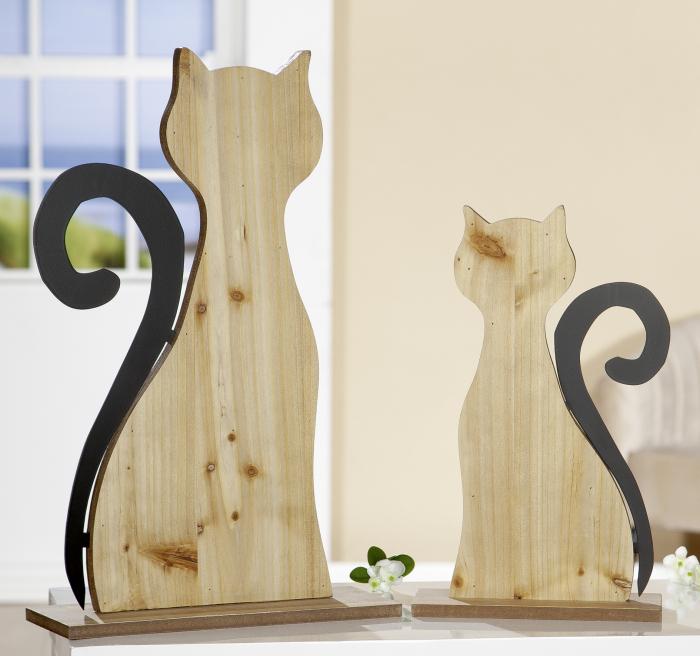 Decoratiune Cat, MDF metal, maro negru, 34x55x12 cm 2021 lotusland.ro