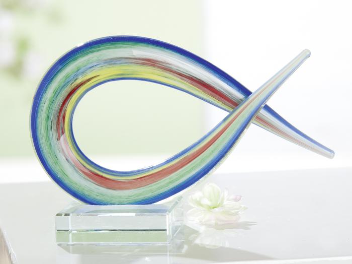 Decoratiune Christian Fish, sticla, multicolor, 19.5x13x7 cm lotusland.ro