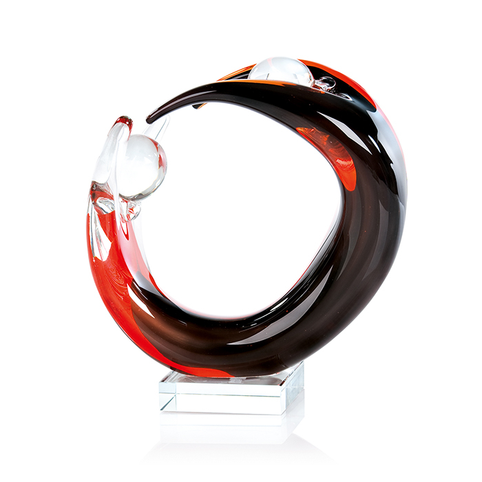 Decoratiune Circleof Life, rosu negru, sticla, 24x8 cm imagine 2021 lotusland.ro