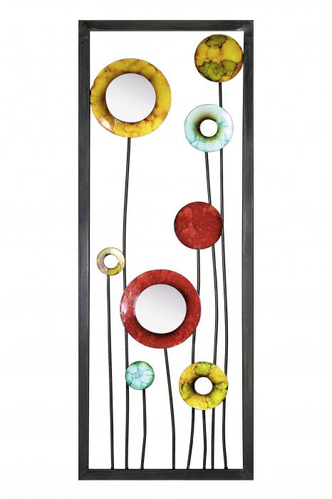 Decoratiune cu 2 oglinzi AFRICAN, metal, 80x2x30 cm [1]