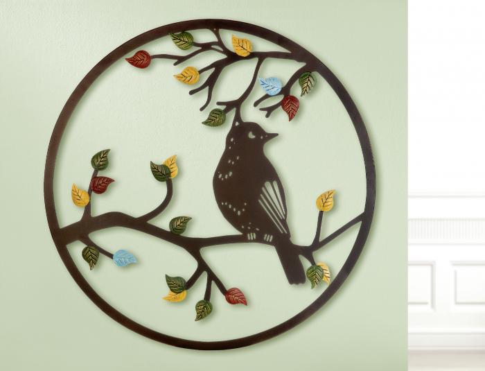 Decoratiune de perete bird in the tree, metal, multicolor, 60 cm 0
