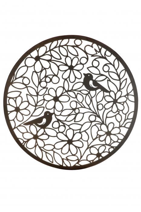 Decoratiune de perete bird paradise, metal, maro, 60 cm 0