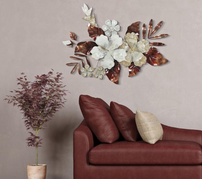 Decoratiune de perete Bouquet, fier, multicolor, 83X8.5X55 cm 2021 lotusland.ro