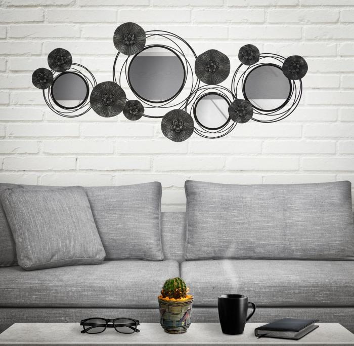 Decoratiune de perete cu oglinda DARK (cm) 117X5,5X49 5