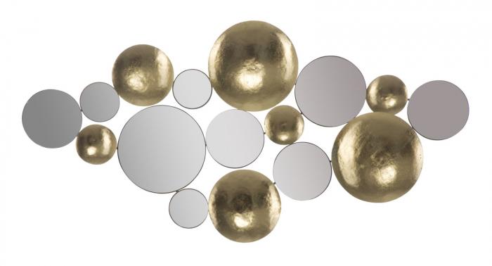 Decoratiune de perete cu oglinda GLAM, Metal/Oglinda, Auriu/Argintiu, 118X2.5X60 cm [1]