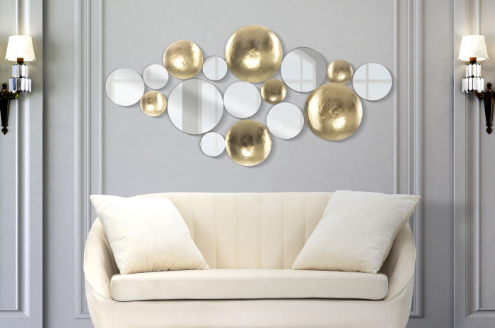 Decoratiune de perete cu oglinda GLAM, Metal/Oglinda, Auriu/Argintiu, 118X2.5X60 cm [0]