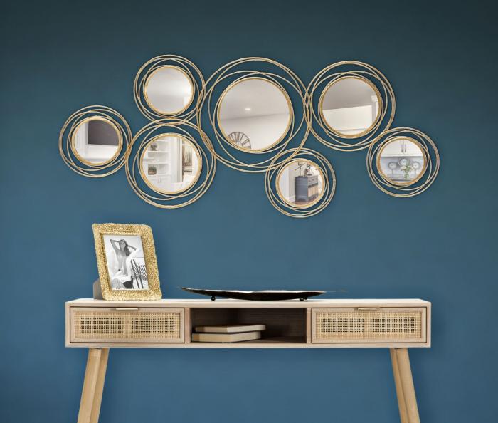 Decoratiune de perete cu oglinda ROUND (cm) 124,5X4X53,5 0
