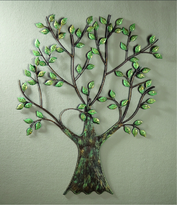 Decoratiune de perete GREEN TREE, metal, 76x64 cm 2021 lotusland.ro
