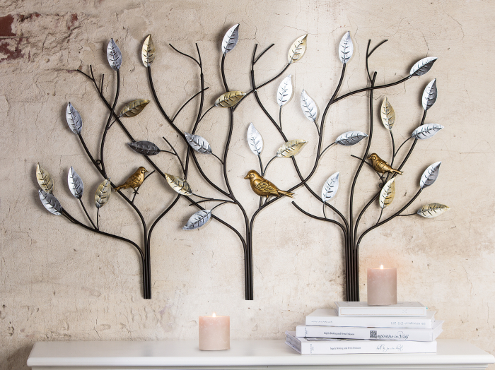 Decoratiune de perete tree birds, metal, multicolor, 104x71x2 cm [0]