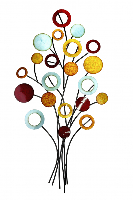 Decoratiune de perete TREE OF LIFE, metal, 51x97x4 cm 1