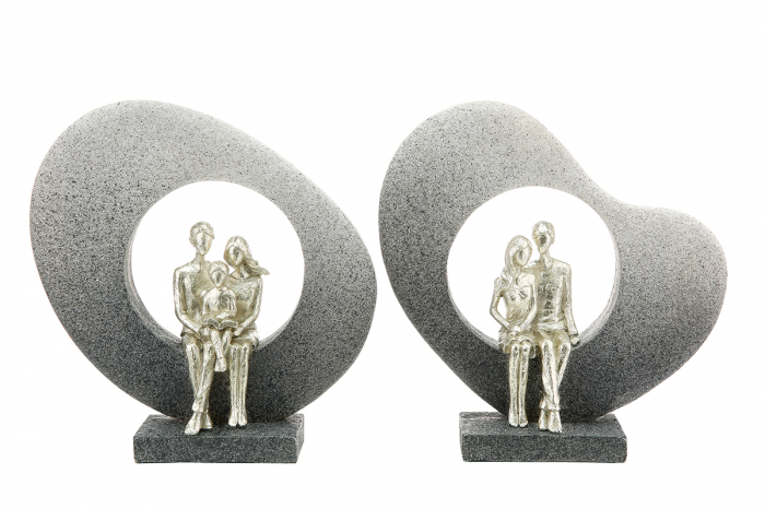 Set 2 figurine Family in bow, rasina, gri, 23x5,5x24 cm lotusland.ro