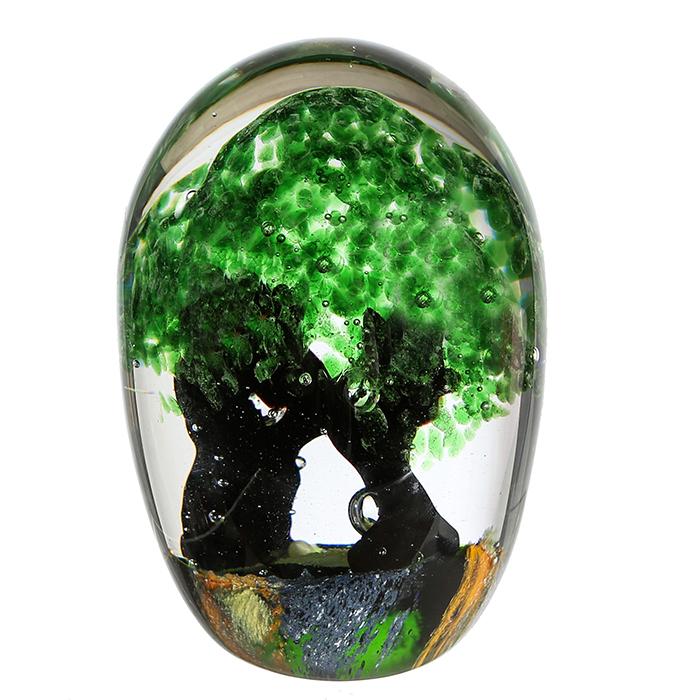 Decoratiune Forest Tree, sticla, verde maro, 15x10 cm imagine 2021 lotusland.ro