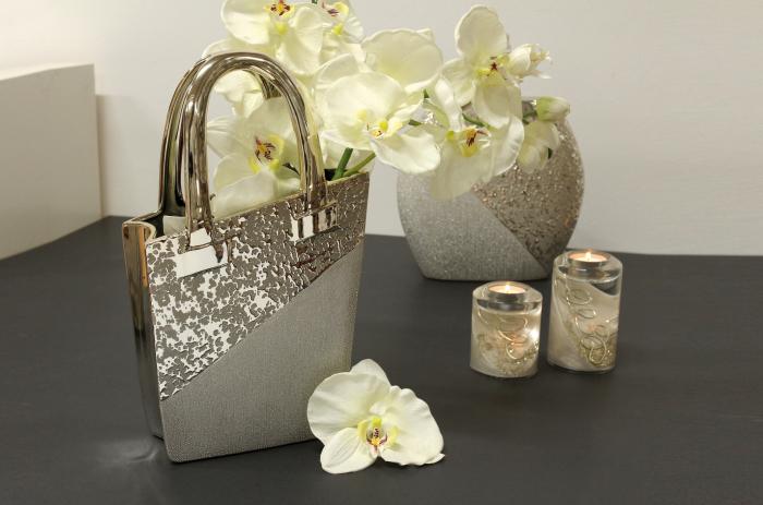 Vaza Grace, ceramica, argintiu, 20x10x35 cm imagine 2021 lotusland.ro