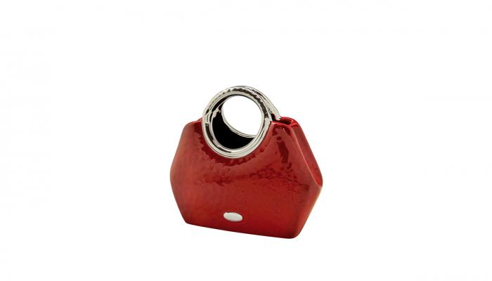Vaza  Milano, ceramica, rosu/argintiu, 24.5x10.5x21 cm 1
