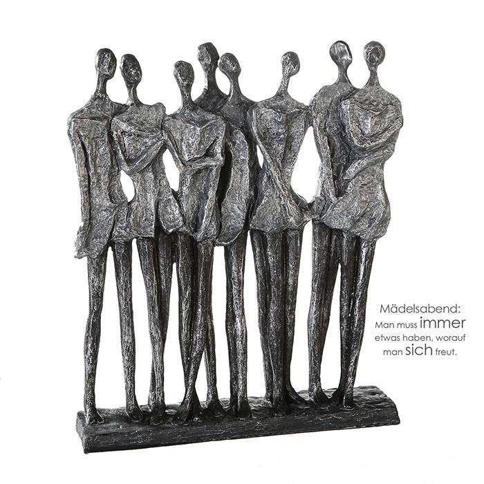 Decoratiune Girls Evening, rasina, argintiu gri, 28x34x7 cm 2021 lotusland.ro