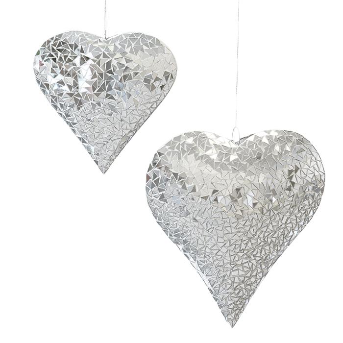 Decoratiune inima pentru brad Heart, metal sticla, argintiu, 33x33 cm 2021 lotusland.ro