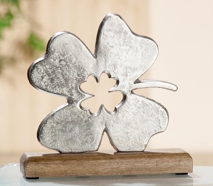 Decoratiune leaf, aluminiu/lemn, argintiu/maro, 5x20x20 cm 0