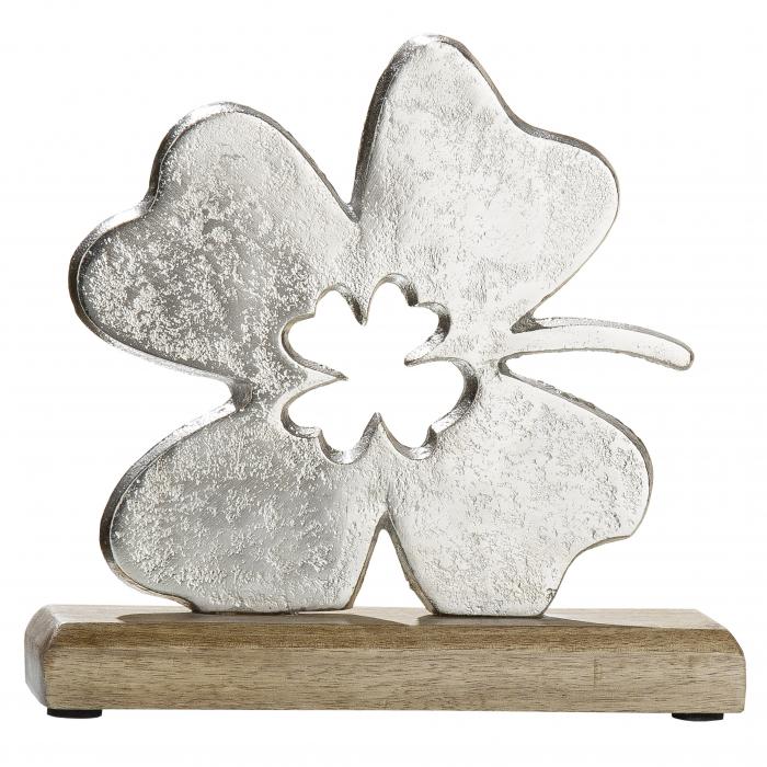 Decoratiune leaf, aluminiu/lemn, argintiu/maro, 5x20x20 cm 1