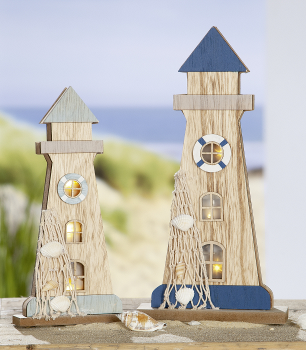 Decoratiune Lighthouse, MDF, albastru gri, 12x25x4 cm lotusland.ro