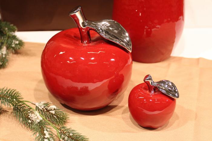 Decoratiune mar Facella apple, ceramica, rosu/argintiu, 9x9x10 cm [0]
