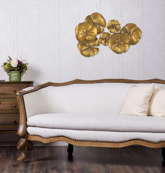 Decoratiune pentru perete FLOWER GOLDY, 80X6X57 cm, Mauro Ferretti 6