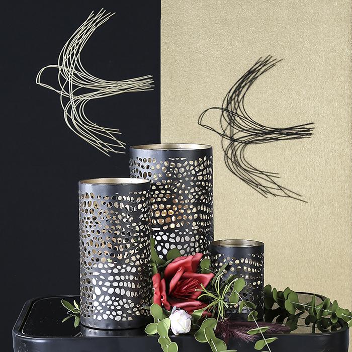 Decoratiune pentru perete Swallow, sarma metalica, negru, 31x38 1