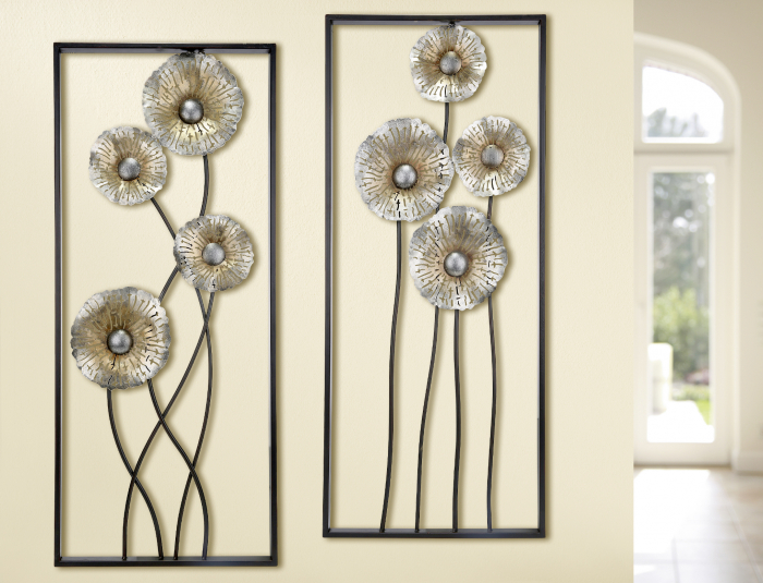 Set 2 decoratiuni de perete Poppy, metal, maro argintiu, 38x3x90 cm imagine 2021 lotusland.ro