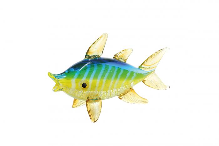 Decoratiune peste Seafish, sticla, galben, 24,5x8x14 cm imagine 2021 lotusland.ro