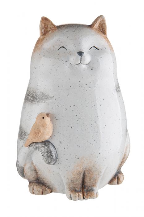 Decoratiune pisica Grosso, ceramica, gri, 14x11,5x19,5 cm lotusland.ro