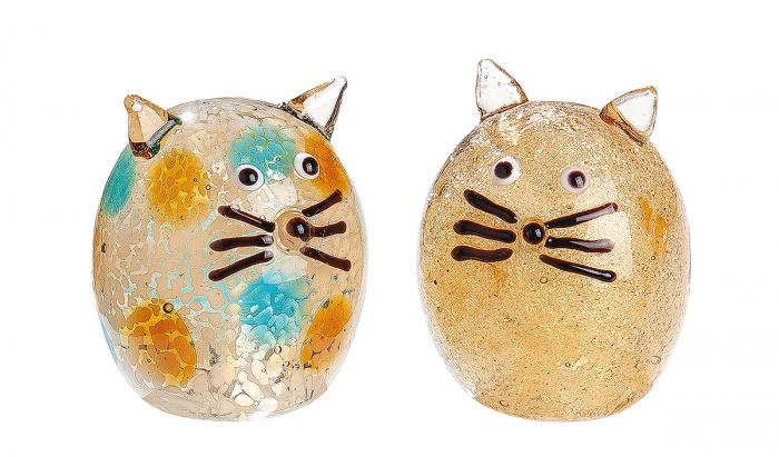 Set 2 pisici asortate Punto, sticla, maro crem, 4,5 cm 2021 lotusland.ro