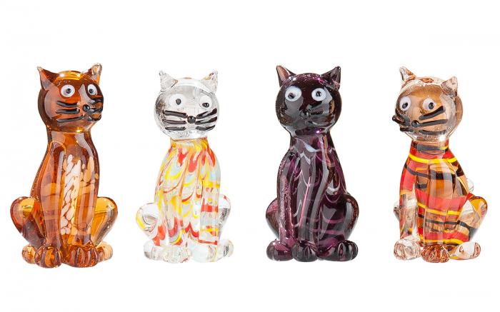 Set 4 pisici, sticla, multicolor, 3x3,5x6 cm 2021 lotusland.ro