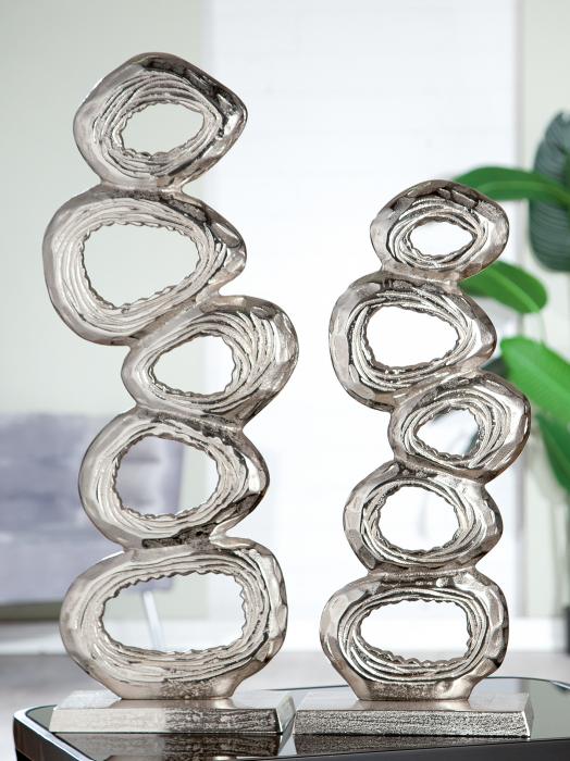 Decoratiune Rings, aluminiu, argintiu, 23x65 cm lotusland.ro